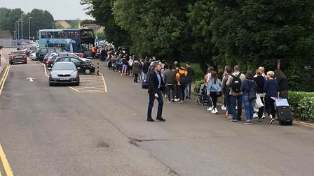 Commuters waiting in line for a replacement bus at Royston. Picture: Tim Holmes