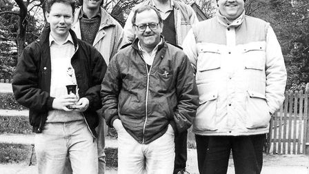Mick Melnyk pictured in 1989 with his fellow St Albans City quiz team members. Back row: Geoff Peck,