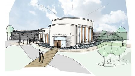 Artist's impression of crematorium and cemetery proposal at Jubliee Park, in Huntingdon