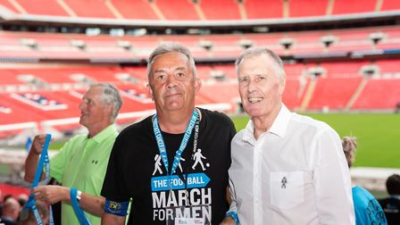 Saints' commercial manager Phil Coates with Geoff Hurst at Wembley.