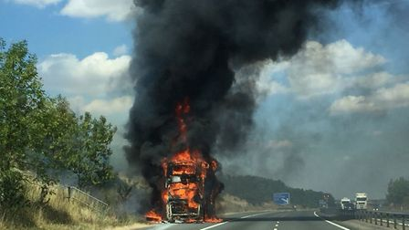Coach fire on the M11. Picture: ALAN WHITEHEAD