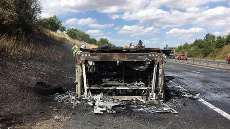 The coach was destroyed by the fire. Picture: STANSTED FIRE STATION