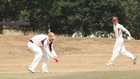 Harpenden in the field in the match between Harpenden and WGC. Picture: DANNY LOO