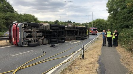 The overturned fuel tank in St Albans. Picture: Herts Fire and Rescue Service