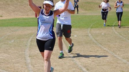 Carlie Thomas running around the Beaumont School field. Picture: Charles Cross