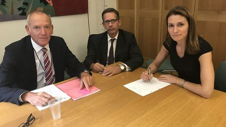 Jonathan Djanogly, centre, with South East Cambridgeshire MP Lucy Frazer andd Govia Thameslink boss