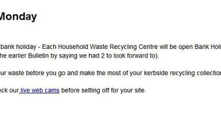 The first email from Herts County Council which incorrectly stated there would be another Bank Holid