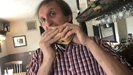 Pub manager, Ivan Titmuss, is fundraising for charity with his burger-eating competition. Picture: T