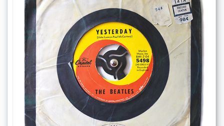 Morgan Howell's hand-painted copy of the Yesterday single.