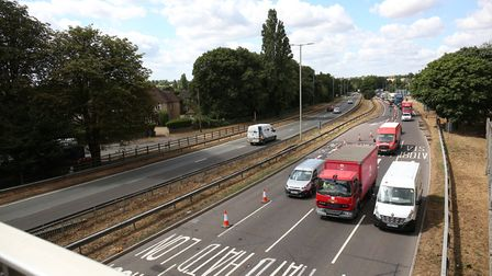 The roadworks at London Colney roundabout. Picture: DANNY LOO