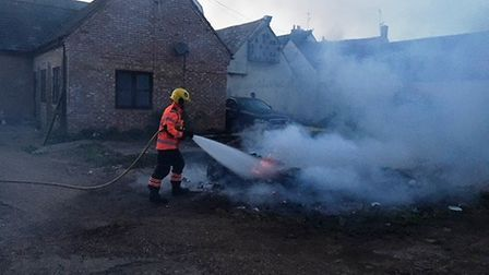 Firefighters were called to a bonfire in High Street, Ramsey. Picture: CFRS