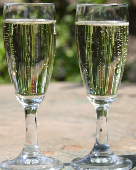 Two glasses of Prosecco on the table