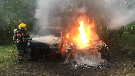 Blaze in cars believed to be arson