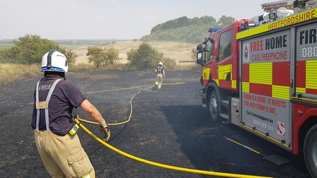 Royston fire crews had a very busy day tackling field fires on Thursday last week. Picture: Royston