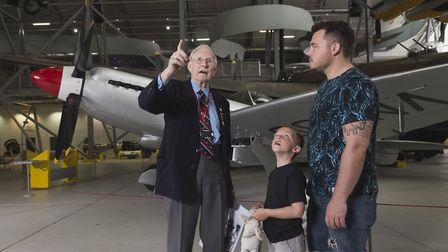 A veteran recounts tales of life in wartime whilst stood amongst aircraft in the AirSpace exhibition