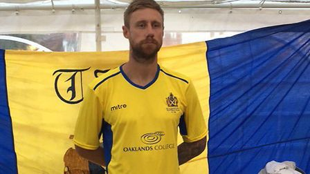 David Noble shows off St Albans City's new home kit ahead of the 2018-19 Vanarama National League So
