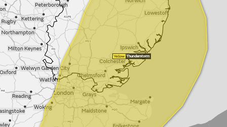 The area that has the yellow weather warning