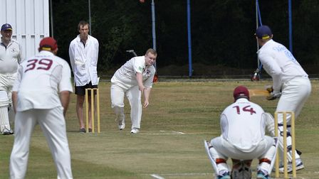 Lewis Ager, seen here bowling, later hit a fine century as Little Paxton triumphed at Hemingford Par