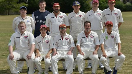 The Little Paxton side who won at Hemingford Park are back row, left to right, Tommo Newton, Jack Br