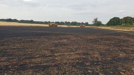 The field on Harpenden Lane in Redbourn after the fire. Picture: Herts Fire Control.