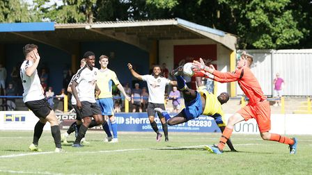 St Albans City's David Diedhiou earned praise for his defensive performance at Woking.Picture: K
