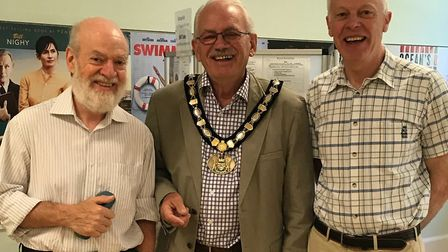 Water Aid supporters Hugh Pollock, left and Chris Bow with chairman of Hertfordshire County Council