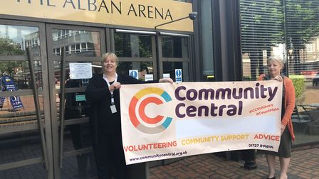 Nikki Casey and Catharine Pusey from Community Central outside the Alban Arena.
