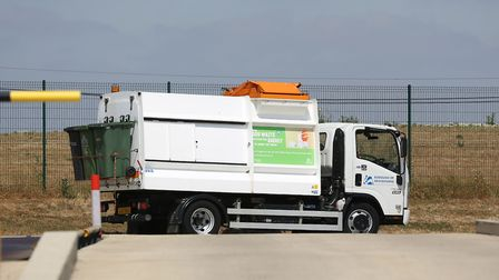 A St Albans food recycling van at the Agrivert recycling plant in Colney Heath. Picture: DANNY LOO