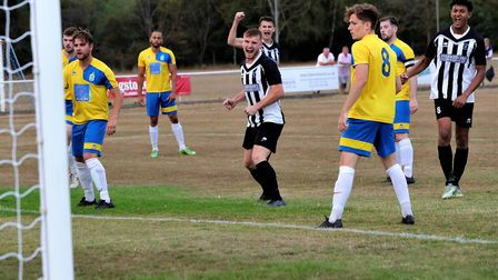 Greg Shaw puts Colney Heath ahead against Harpenden Town. Picture: Jim Whittamore
