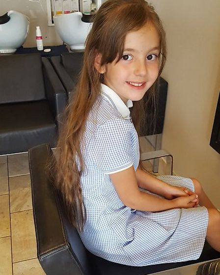 Evie Smedley before the haircut. Picture: Joanne Corley
