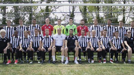 The new St Ives Town squad ahead of the 2018-19 season, in thier home kit sponsored by Cambridge Sen