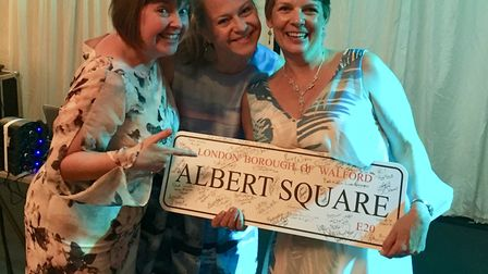 Kellie Bright at Beaumont School with the auction winners. Picture: Charles Cross