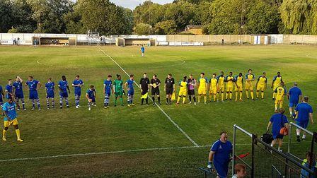 Hertford Town and St Albans City line-up before the Herts Charity Cup game.