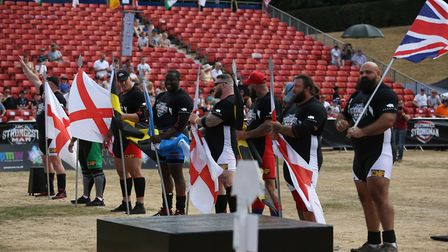 The competitors are introduced to the crowd at the UK's Strongest Man event held in Westminster Lodg