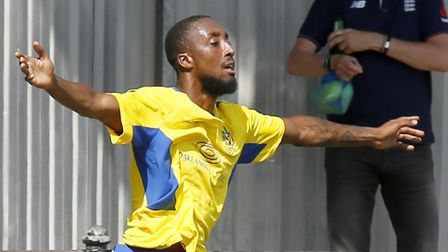 Ralston Gabriel celebrates his debut goal for the St Albans City v Hungerford Town. Picture: Leigh P