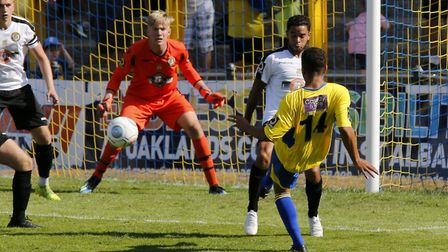Zane Banton fires the ball towards goalNational League South, St. Albans City v Hungerford Town, Cl