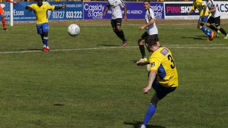 Tom Bender whips the ball in to the Hungerford boxVanarama National League South, St. Albans City v