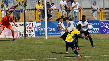 Solomon Sambou tries to curl the ball into the top cornerVanarama National League South, St. Albans