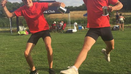 Sam Hasted and Rory Crouch celebrate their Sudbury Regatta success.