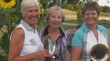 The winners of the Midweek Challenge and Borham Silver trophies at Heydon Grange Golf Clu. (l-r) Man