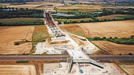 Progress on the A14 upgrade showing the new rail and river crossings betweeen Offord and Buckden. Pi