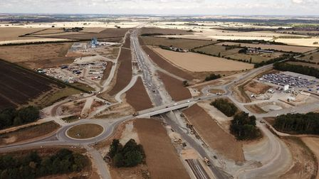 The new A14 road at Godmanchester looking towards Offord
