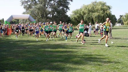 Runners set off from the start in the Riverside Runners 31st Anniversary 10k in St Neots.