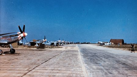 P-51 Mustangs of the 339th Fighter Group lined up at Fowlmere. Picture: James Starnes, Wikimedia Com