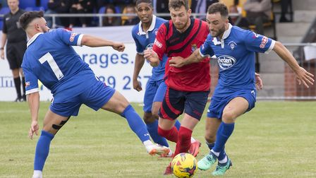 James Peters hit the bar as St Neots Town were beaten at Stratford Town. Picture: CLAIRE HOWES