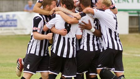 St Ives Town players celebrate Munashe Sundire's goal against Tamworth. Picture: LOUISE THOMPSON