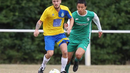Harpenden Town V Edgware Town - FA Cup - Sam James in action for Harpenden Town.Picture: Karyn Ha