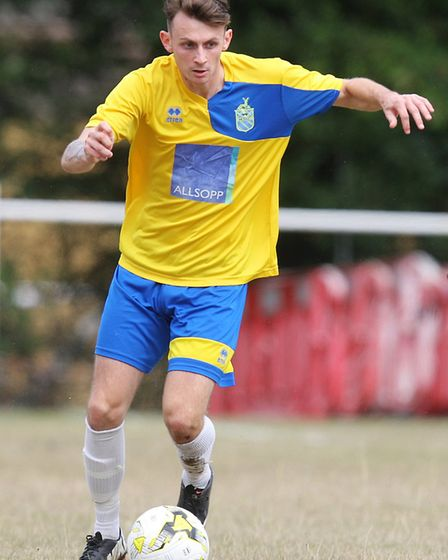 Harpenden Town V Edgware Town - FA Cup - Archie McClelland in action for Harpenden Town.Picture: