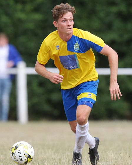 Harpenden Town V Edgware Town - FA Cup - Jake Collins in action for Harpenden Town.Picture: Karyn