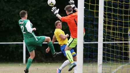 Harpenden Town V Edgware Town - FA Cup - Goal attempt by Harpenden Town's James Yates.Picture: Ka
